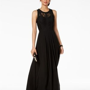 Betsy & Adam Caged Lace Gown Black Size 16